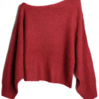 Boat neck Red long sleeve wool irregular pullover  Bat sleeves Pop  style zz918012 in  Indressme
