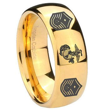 10mm Marine Chief Master Sergeant  Dome Gold Tungsten Carbide Men's Wedding Ring