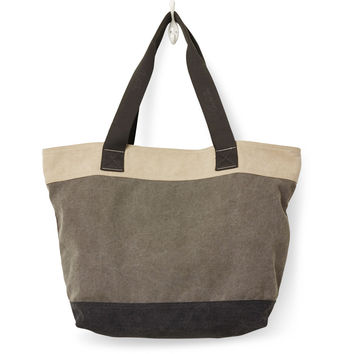 TOMS charcoal blocked canvas transport tote bag
