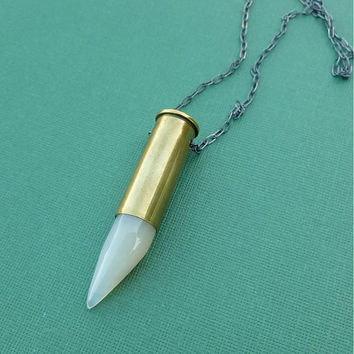white agate silver bullet necklace in oxidized sterling