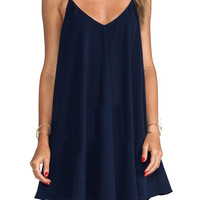 Navy Blue Spaghetti Strap V-neck A-Line Mini Pleated Dress