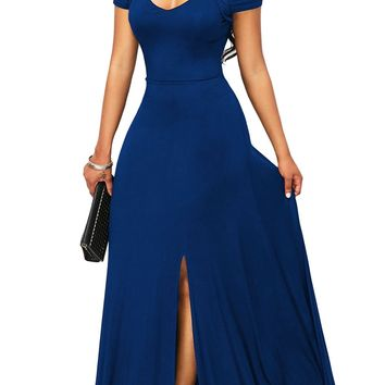 Blue Cold Shoulder Front Slit Flare Maxi Dress