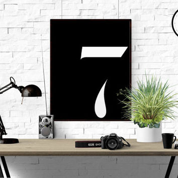 Number 7 Printable Poster Print Number Scandinavian Poster Typography Print Number 7 Wall Art Custom number ANY NUMBER Black And White