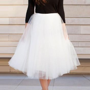 White Patchwork Grenadine High Waisted Plus Size Knee Length Adorable Tutu Skirt