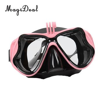 MagiDeal Tempered Glass Diver Mask Glasses Adjustable Strap for Scuba Diving Snorkeling diving Swimming Underwater Sports