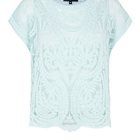 Mint Green Floral Embroidered Mesh Boxy Top