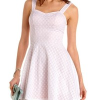 Eyelet Lace Sweetheart A-Line Dress: Charlotte Russe