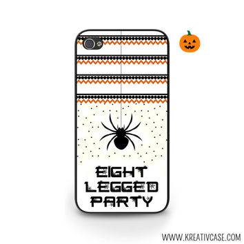 "Halloween Phone Case, Orange and Black, Spiders iPhone Case, iPhone 4, iPhone 5, Samsung S4, Phone Cover, ""Eight Legged Party"" - H005"