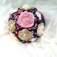 In Stock Unique Bridal Brooch Bouquet Pink, Ivory and Black Victorian Vintage Style Wedding Bouquet with Handmade and Silk Roses