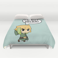 I'm not Zelda! (link from legend of zelda) Duvet Cover by TxzDesign