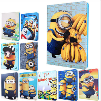 New Arrival Cute Minion Smart  case for Ipad air II 2  Cartoon Despicable Me PU leather&TPU protect cover for Ipad 6 A1566 A1567