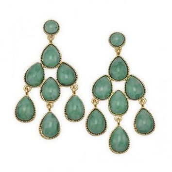 Shop green and gold chandelier earrings on wanelo gold tone green chandelier fashion earrings mozeypictures Choice Image