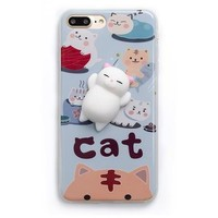Squishy White Cat Phone Case For iPhone 6, 6s, 7, 7 Plus