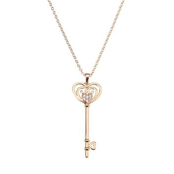 JASSY® Sweet Rose Gold Plated Heart Key Pendant Zircon Long Necklace