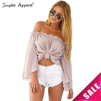 Simplee Apparel Sexy off shoulder white chiffon blouse shirt Girls loose pink summer blouse Women tops bow long sleeve blusas
