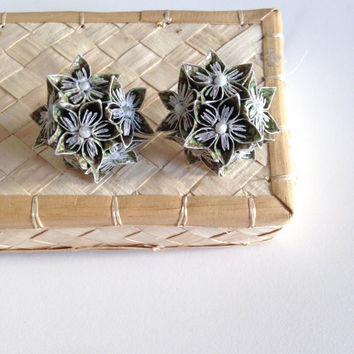 MINI ORIGAMI EARRINGS - Dark Green Patterned Multi Flower Earrings - Bridesmaids, Wedding fashion, Handmade, Floral Jewelry, Gifts for Her