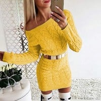 New mid - length fluorescent twist waist - back off-the-shoulder sweater dress sweater