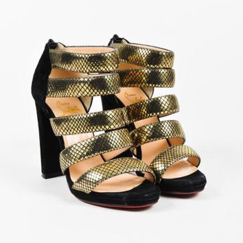 Christian Louboutin Metallic Gold Snake Embossed Suede Caged Sandals SZ 38.5