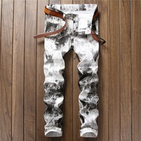 Casual Print Korean White Stylish Club Pants [10766091715]