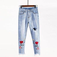 TRUST DREAM Europeans Style Women Slim Embroidery Red Rose Straight Jeans Ripped Hole Pants Female Fashion Sexy Street Jeans