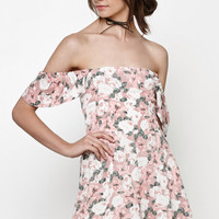 Somedays Lovin Bridget Floral Off-The-Shoulder Romper at PacSun.com