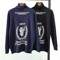 BALENCIAGA Autumn Winter Popular Women Mohair Long Sleeve High Collar Sweater Top Sweatshirt
