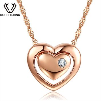 DOUBLE-R 0.025ct Natural White Diamond Pendants Women Rose Gold 925 Silver Heart Necklaces Real Diamond-Jewelry With Chain Gift