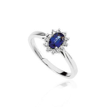 Oval Sapphire & .18 Ctw Diamond Halo Ring In 14K White Gold