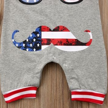 Newborn Patriotic Baby Boy Sleeveless Romper