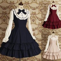Sweet Lolita Dress Women's Cotton Long Sleeve Vintage Dress with Ruffles