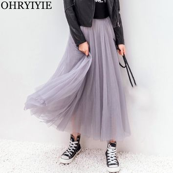 OHRYIYIE Winter Vintage Skirts Womens Elastic High Waist Tulle Mesh Skirt Long Pleated Tutu Skirt Female Jupe Longue