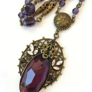 Vintage Czech Amethyst Glass Necklace 20s Art Deco Purple Brass Enamel Filigree Pendant Faceted Glass Czechoslovakian Antique Jewelry Estate