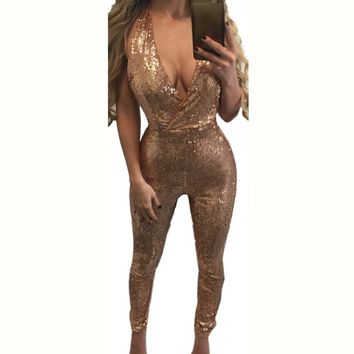 Deep V Neck Sleeveless Sequin Bodycon Jumpsuit Sexy Women Black Gold Backless Long Skinny Bodysuit Fashion Plus Size Overalls