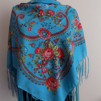 Turquoise Russian floral scarf, floral scarf ,winter head scarf fringe shawl, women scarves gift for her,fringe shawl,fringe scarf