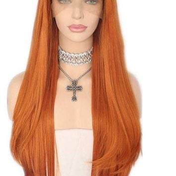 Diya- Hand Tied Orange Layered Natural Hairline  Style Heat Resistant Synthetic Front Lace