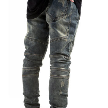 Blue Sandstone Distressed Biker Denim