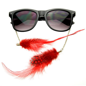 Hippie Womens Horn Rimmed Eyewear-Jewelry Chained Feather Sunglasses