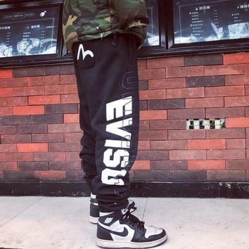 """Evisu"" Unisex Classic Fashion Letter Print Sweatpants Couple Thickened Leisure Pants Trousers"