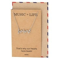 Jana Heartbeat Music Note Necklace, Gifts for Music Lovers