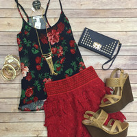 Lace Pointer Shorts: Red