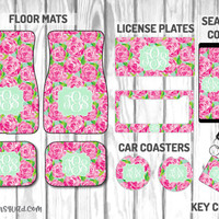 First Impressions Inspired by Lilly Pulitzer Car Mat / Car mat Monogram / Car Accessory Gift  Set