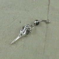 belly button jewelry bird skull bellyring steampunk belly button ring, belly piercing