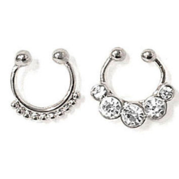 Silver Round Beaded & Rhinestone Faux Septum Ring Pack