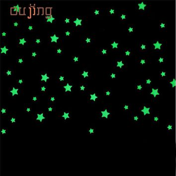 oujing 100PC wall stickers for kids rooms  Fluorescent Glow In The Dark Stars Wall Sticker DIY poster home decor
