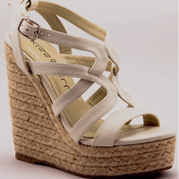 Nude Ava Strappy Wedge Heels - Unique Vintage - Cocktail, Pinup, Holiday & Prom Dresses.