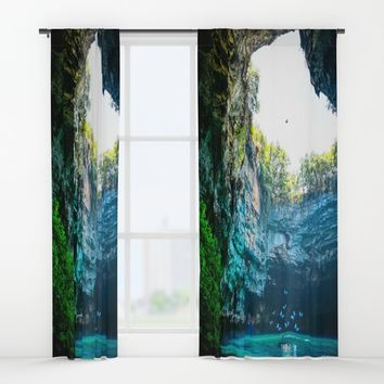Sea Cave in Greece Window Curtains by Azima
