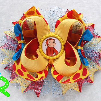 Curious George Boutique Hair Bow , George Layered Bow, Curious George stacked hair bow , Ott bow