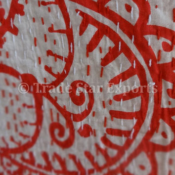 Red Hand Block Print Cotton Bedspread, Queen Size Kantha Bed Cover, Handmade Printed Kantha Quilt, Bohemian Bedding, Reversible Throw