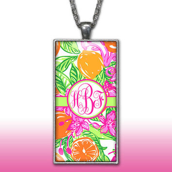 Hot Pink Lime Monogram Pendant Charm Necklace Tropical Floral Personalized Custom Initial Necklace Monogram Jewelry
