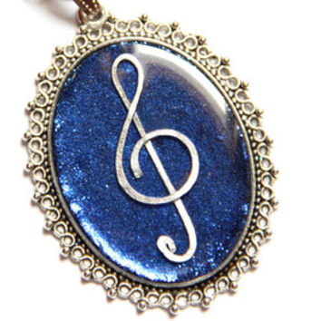Saxophone necklace Statement jewelry Musical pendant Big blue necklace  Silver cabochon Sparkle jewelry for her Musicians 59e9a159c